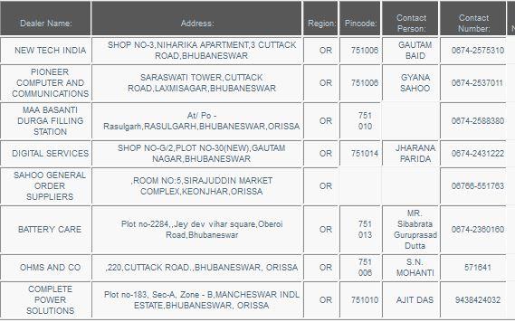 Exide Dealers - Bhubaneshwar - orissa