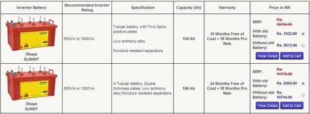 okaya Tubular battery models